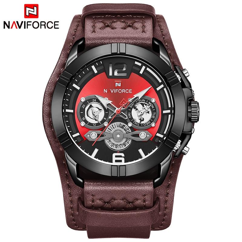 NAVIFORCE Men's Watches Waterproof Leather Quartz Watch Men Calendar Military Wristwatch Sports Analog Clock Relogio Masculino|Quartz Watches| |  - title=