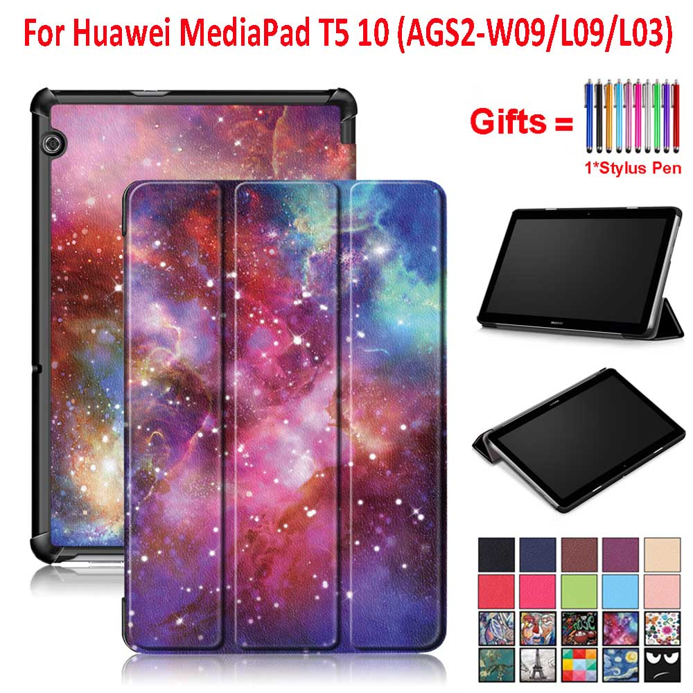 For Huawei MediaPad T5 10 Case Cover 2018 10.1 Inch Tablet AGS2-W09/L09/L03/W19 Magnetic Trifold Stand Protective Case+Gifts