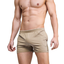 Men Sleepwear Shorts Pajamas Pants Trousers Sexy Cotton for Male Pure-Color Sheer Casual