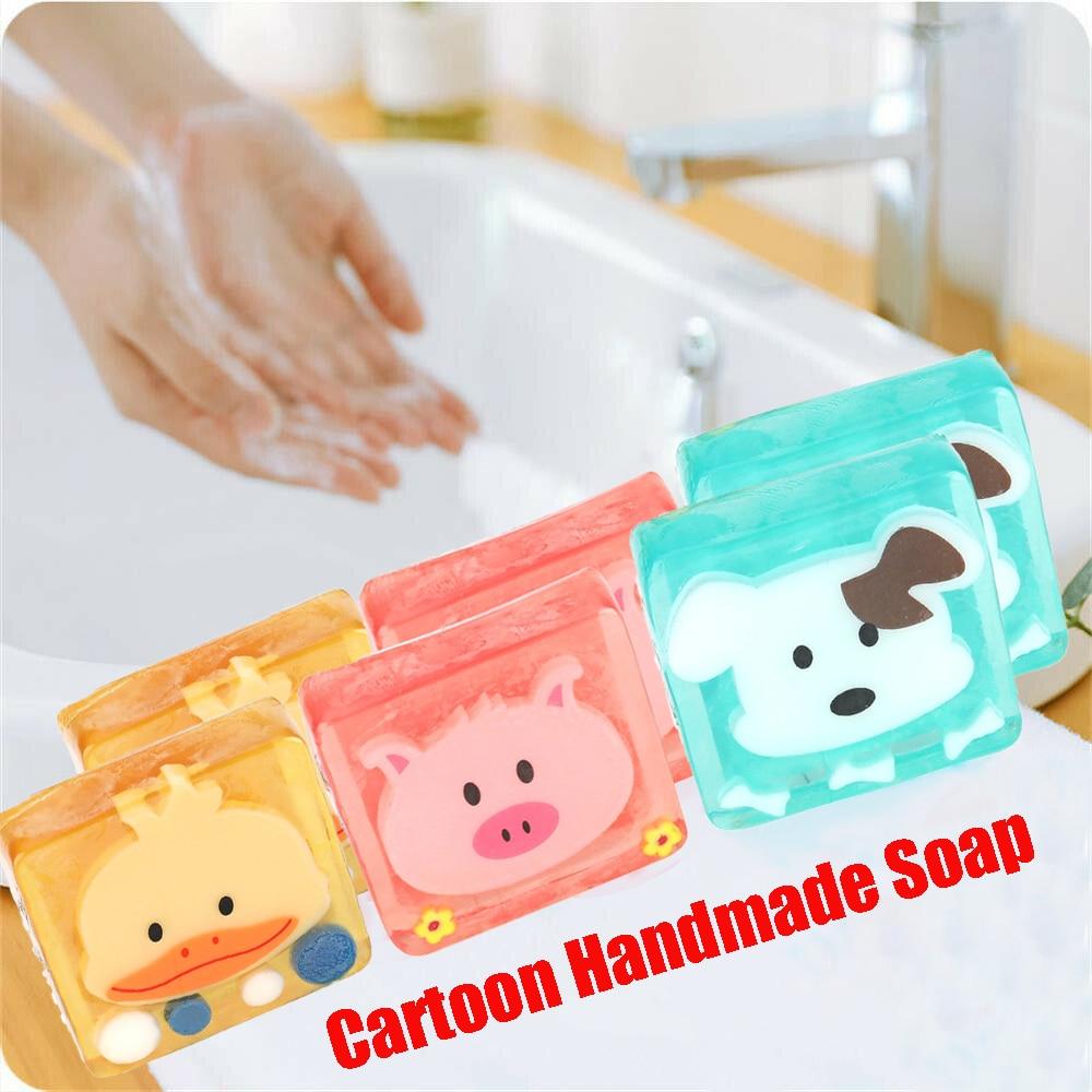 1PC Cartoon Handmade Soap Cute Animal Pattern Portable Sterilization Face Soap Kids Bath Washing Hand Cleaning Soap