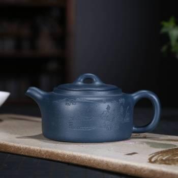 Full Manual Dark-red Enameled Pottery Teapot Tea Set Raw Ore Azure Mud Shaft Teapot Wholesale Agent A Piece Of Generation Hair