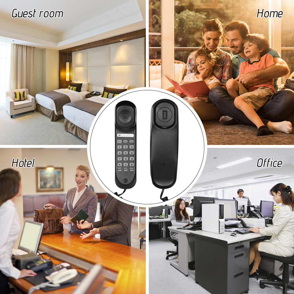DiscountÂCorded Fixed-Telephone Desktop Mini Wall Mountable-Supports Functions Flash/redialí