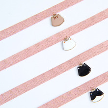 Cute Pink Ribbon Choker Cat Face Charms Necklace Women Lace Enamel Cat Face Pendant Necklace Collar Jewelry For Lovely Girls stylish smiley face lace choker necklace
