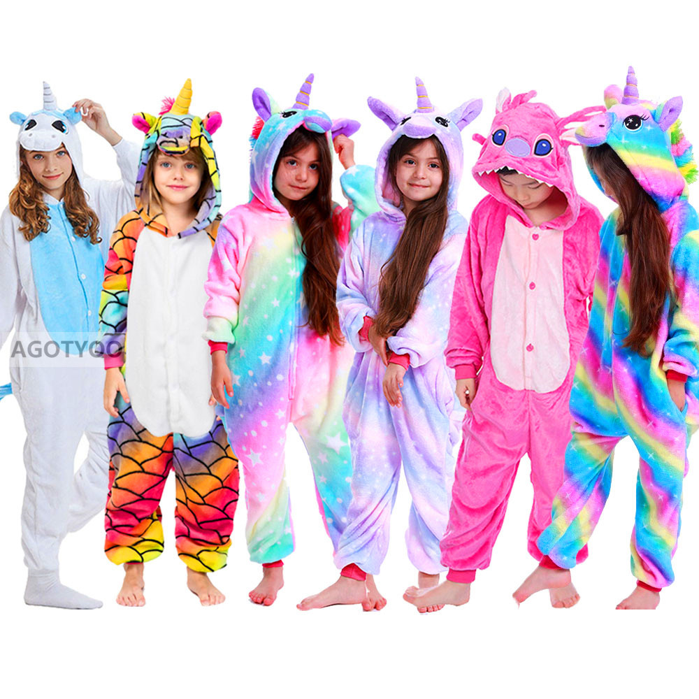 2021 Children Onesie Kids Unicorn Panda Pajamas Animal Cartoon Blanket Sleepers Baby Costume Winter Boys Girls Licorne Jumspuit 1