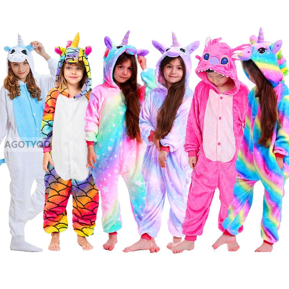 2020 crianças onesie crianças unicórnio panda pijamas animal dos desenhos animados cobertor sleepers bebê traje de inverno meninos meninas licorne jumspuit