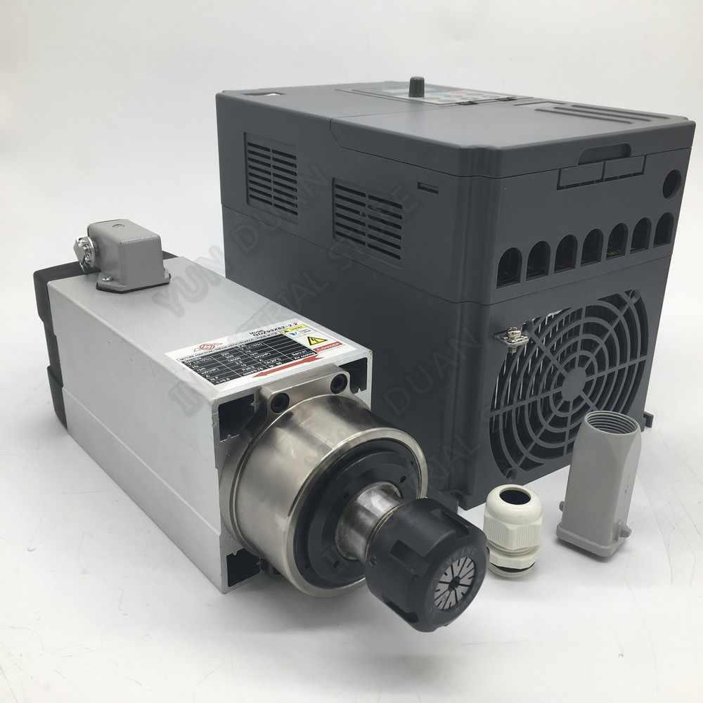 3PH 380V 2.2KW CNC Router Động Cơ Trục Chính Máy Làm Mát Không Khí Bộ 3HP ER25 Mùa Xuân Collet 18000 VÒNG/PHÚT 300Hz + 3KW VFD Inverter + ER25 Collets