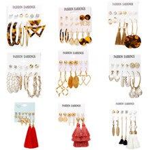 Boucles d'oreilles Vintage longues pompon pour femmes, nouvelle mode, feuille croisée or perle léopard acrylique, ensemble de bijoux surdimensionnés, 2019