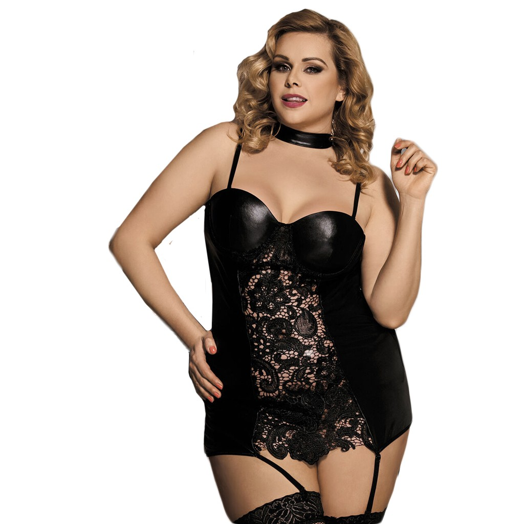 Sexy Lingerie Micro <font><b>Bikini</b></font> Lenceria Mujer <font><b>Sex</b></font> Shop Sexy Plus Size Black Wet Leather Look Bandage Lingerie Backless Dress image