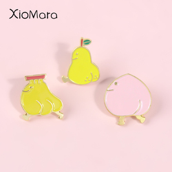 Yellow Fruits Chicks Enamel Pins Banana Peach Pear Chicken Animal Jewelry Brooches Denim jeans Lapel Pins For Kids Friends