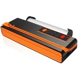 -Vacuum Sealing Machine Wet And Dry Machine Dual-Use Automatic Vacuum Packaging Household Sealing Machine-Orange + Black Eu P