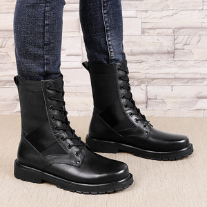 Image 2 - 2020 Mens Winter Boots Casual Genuine Leather Combat Boot Male Autumn Black Army Shoes Man Nice Military Boots for Men Big Size