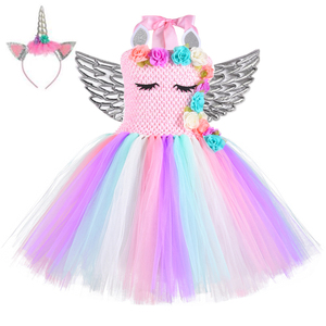 Image 4 - Halloween Girls Flowers Unicorn Costume Kids Pony Rainbow Mesh Tutu Fancy Dress Christmas Party Outfit  Flower Pageant Clothing