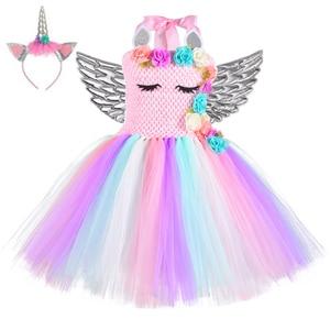 Image 4 - Halloween Mädchen Blumen Einhorn Kostüm Kinder Pony Regenbogen Mesh Tutu Kleid Weihnachten Party Outfit Blume Pageant Kleidung