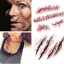 Tatuagem temporária adesivos não-tóxico longa duração halloween terror realista costurado feridas corpo maquiagem tatuagem adesivos