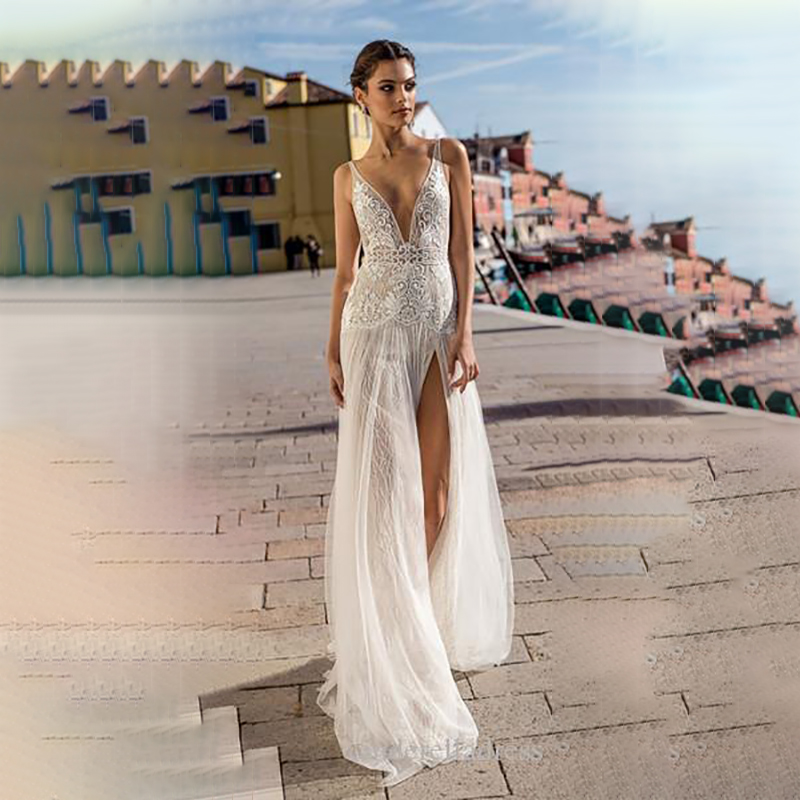 Sexy Wedding Dress 2020 V-Neck BacklessTulle Side Slit Bridal Gowns Lace Beach Boho Wedding Dress Vestido De Novia