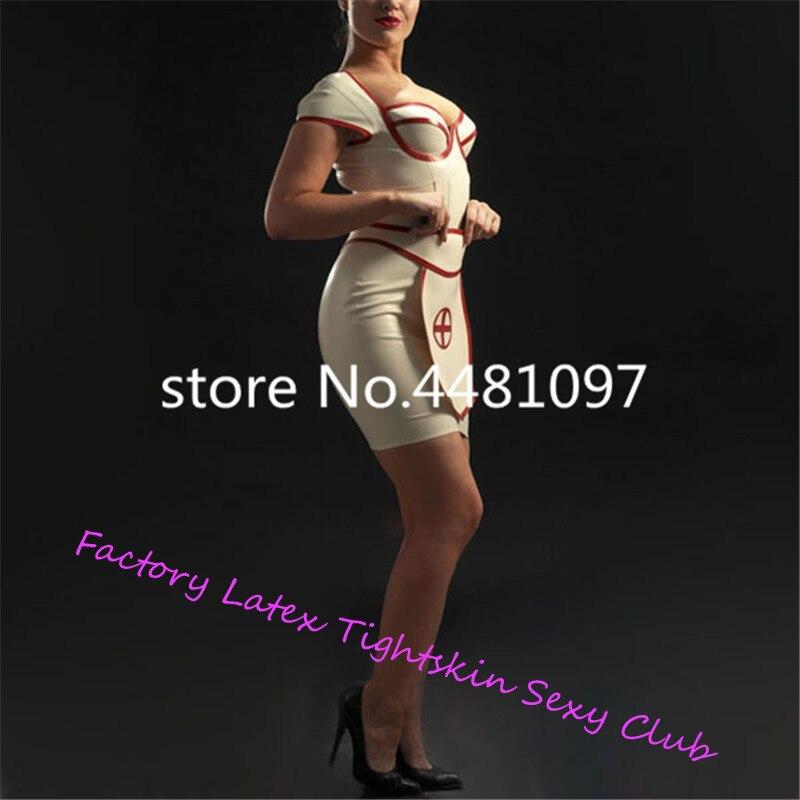 Sexy Latex caoutchouc blanc infirmière robe avec tablier Latex uniforme ensemble (pas de casquette) sexy halloween costumes sur mesure - 4