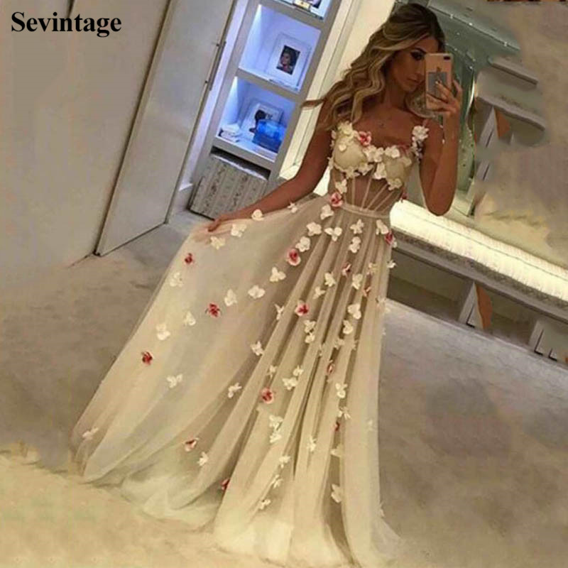 Sevintage Chic Spaghetti Strap Long Women Prom Dresses 3D Flowers Sweetheart Tulle Evening Gowns Formal Dress robe de soiree