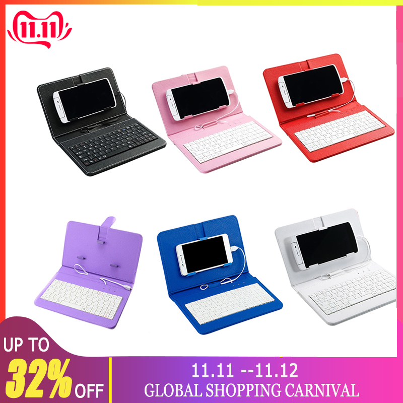 4.8-6.0inch Phone Case PU Leather Flip Case Wired Keyboard Holster Universal Protector Replacement For Andriod