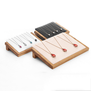 Image 4 - Bamboo Wood Velvet/PU Leather Necklace Pendant Display Stand Holder Women Jewelry Display Rack Holder Storage Case 30*20.5cm
