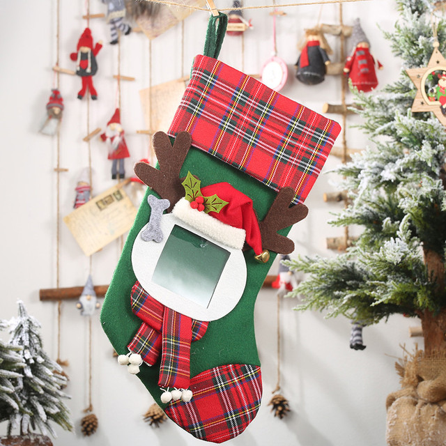 Christmas Stockings Socks Santa Claus Plaid Big Hangingcandy Gift Bag Party Supplies Decoration For Home Pendant Gifts Wholesa 5