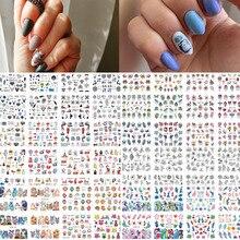 Décalcomanies à eau pour les ongles, emballage autocollant pour manucure, motifs animés, filigranes géométriques, 12 modèles/lot, BN1117 1212