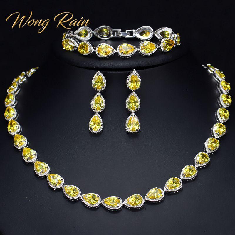 Wong pluie Vintage 100% 925 argent Sterling poire Citrine rubis pierres précieuses collier/boucles d'oreilles/Bracelet Cocktail bijoux ensembles en gros