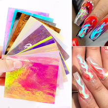 1 PCS Holographic Fire Flame Nail Vinyls Stencil Hollow Stickers Fires on Manicure Stencil Stickers Laser 3D Nail Art Decor 2 sheets fire nail vinyls stencil hollow stickers fires on manicure stencil stickers nail art decoration