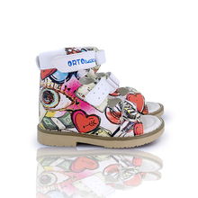 Children Orthopedic Leather Sandals Summer Graffiti Lovely Arch Support Corrective Open-toe
