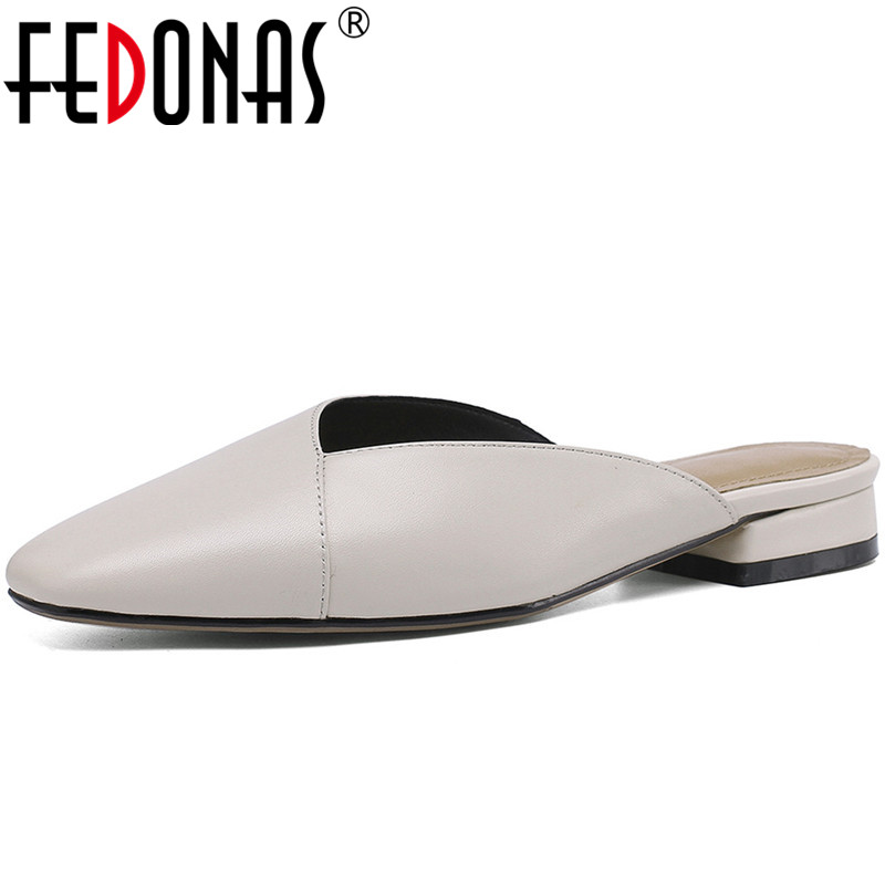 FEDONAS Concise Genuine Leather Women Mules Fashion Square Toe Loe Heels Pumps 2020 New Arrival Casual Working Shoes Woman Heels
