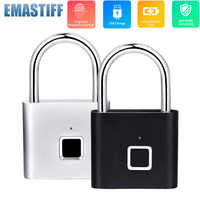 Black silver Keyless USB Rechargeable Door Lock Fingerprint Smart Padlock Quick Unlock Zinc alloy Metal Self Developing Chip