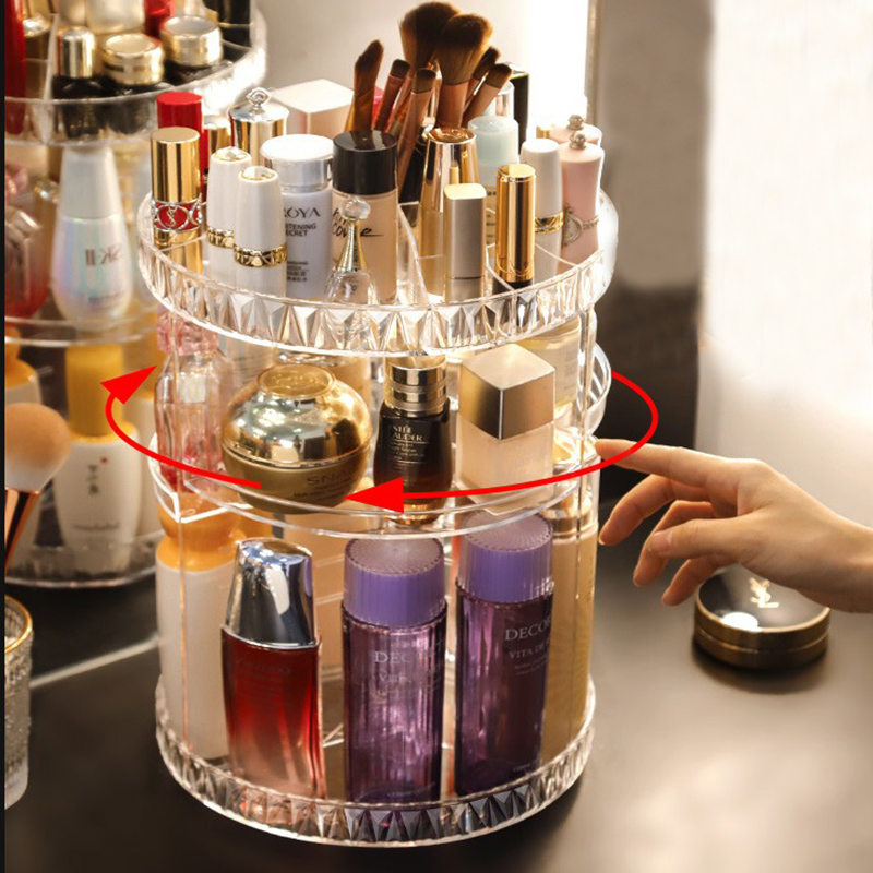 Rotat Cosmetic Storage Box Makeup Organizer Transparent Acrylic Lipstick Display Stand Diamond Pattern Plastic Box Large