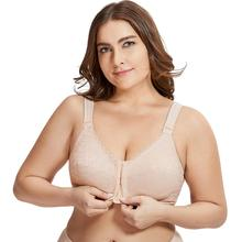 Womens Full Coverage Posture Corrector Front Closure Wireless Back Support Lace Bra Plus Size 38 52 D E F Cup