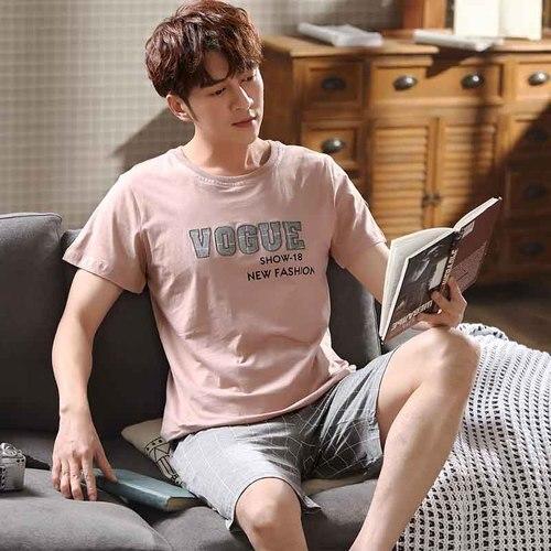 2020 Pajamas For Men Cotton Summer Pink Letter Print Homewear Men's Pyjamas Set Male Soft Sleepwear Suit Nightsuits Pijama XXXL