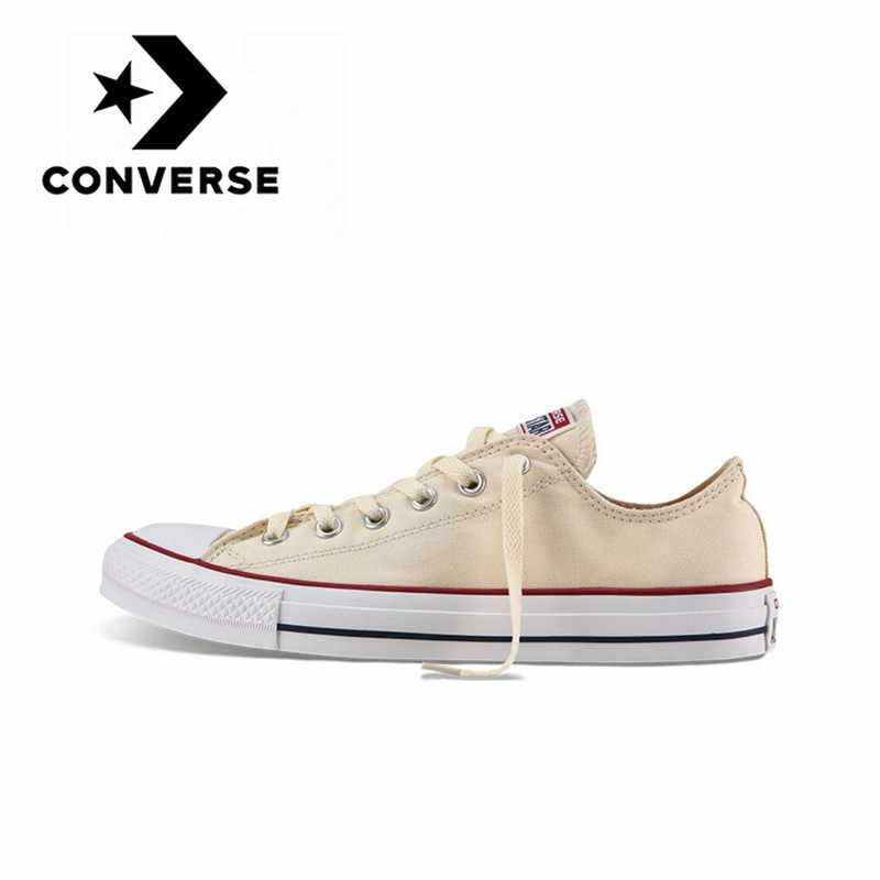 Original Authentic Converse ALL STAR Classic Unisex Skateboarding Shoes Low-Top Lace-up Durable Canvas Footwear Yellow 1Z632