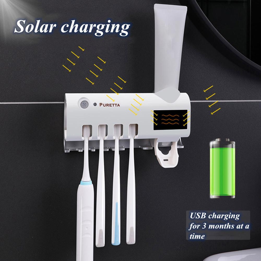 Toothbrush Holder Solar Energy No Need To Charge Uv Toothbrush Disinfectant Cleaning Agent Storage Tooth Brush Holder