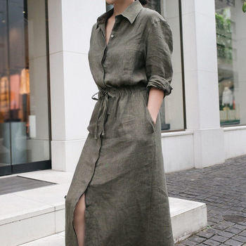 LANMREM Solid Color Lapel Long Sleeve Drawstring Cotton And Linen Loose Woman Dress Casual Fashion 2020 Spring Dresses New TV144 3