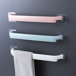 Prateleira de plástico para banheiro, suporte adesivo de plástico para toalha banheiro e banheiro