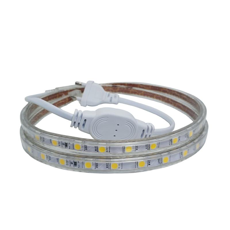 5050 220 V Volt LED Strip Light 5050 Flexible Ledstrip 220V Waterproof Ip67 Tape Ribbon Living Room Kitchen Outdoor Power Plug