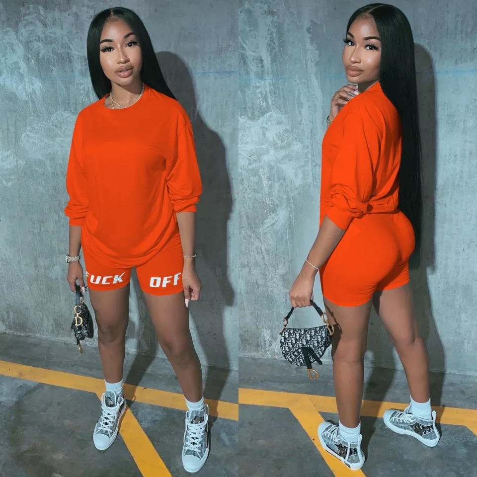 Plus Size Two Piece Set Tracksuit Letter Print T- Shirt Biker Shorts Women Clothes Sweat Suits Lounge Wear Club Outfits Femme