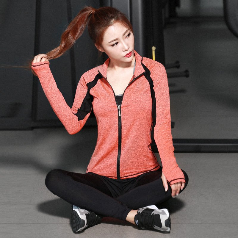 Clothing Woman New Fitness Sport Collar Wicking-Speed Dry-Coat-Zipper Yoga The