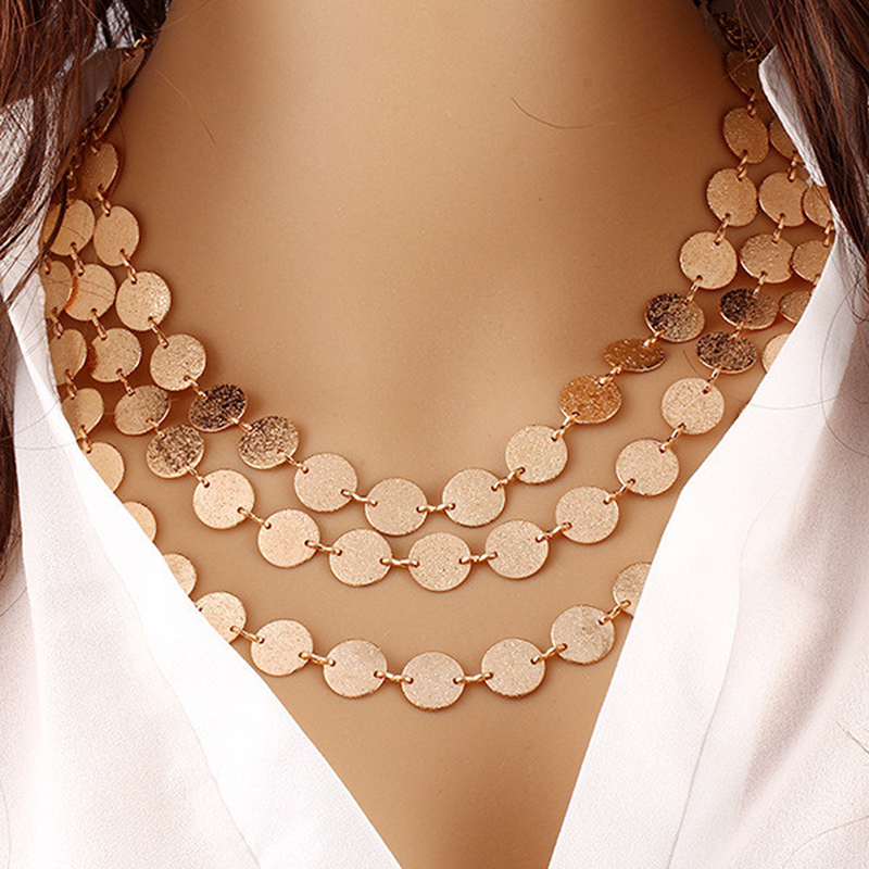 2020 Fashion Coin Choker Necklace Multilayer Round Charm Collier Femme Maxi Necklace For Women Accessories