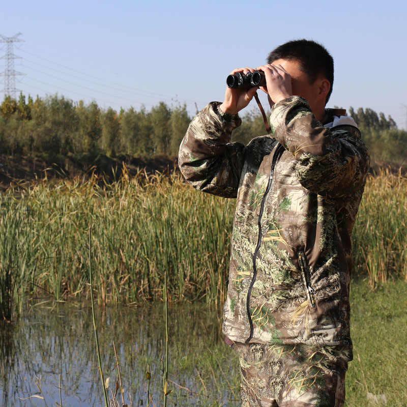 ¡Nuevo! Primavera otoño biónico camuflaje caza traje transpirable con capucha Anti-mosquito traje de pesca a prueba de arañazos Durable chaqueta pantalón
