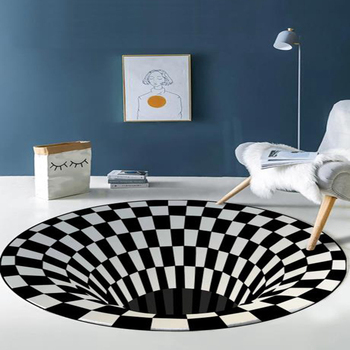 3D Printed Round Vortex Illusion Anti-slip Living Room Carpet Rug Floor Door Mat Illusion Swirl Rug Fashion Carpet Home Decor persian totem printed home decor antiskid rug