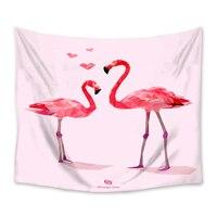 Estilo nórdico flamingo amor tapeçaria de parede pendurado poliéster casa decoração do quarto colcha praia cobertor tapete yoga tapeçarias