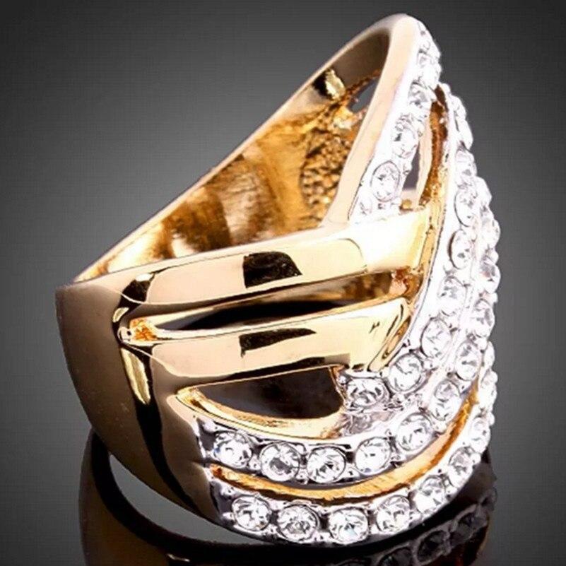 CA-114 mode cristal anneaux haute qualité couleur or bijoux en gros anneaux de mariage accessoires de fiançailles femme