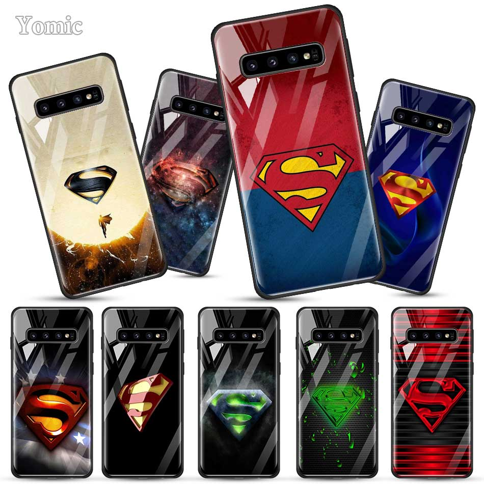 <font><b>Marvel</b></font> Superman <font><b>Logo</b></font> <font><b>Cases</b></font> for <font><b>Samsung</b></font> <font><b>Galaxy</b></font> S20 S10 Lite S10e S9 S8 A70 A50 Note 10 Plus 5G Tempered Glass Soft Edge Cover image