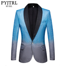 PYJTRL New Mens Artistry Gradient Color Shiny Sky Blue Blazer Night Club Stage Singer Prom Dress Suit Jacket Wedding Costume
