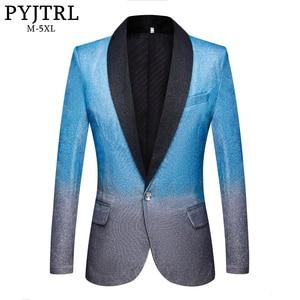 Image 1 - PYJTRL New Mens Artistry Gradient Color Shiny Sky Blue Blazer Night Club Stage Singer Prom Dress Suit Jacket Wedding Costume