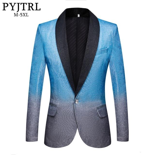 PYJTRL New Mens Artistry Gradient Color Shiny Sky Blue Blazer Night Club Stage Singer Prom Dress Suit Jacket Wedding Costume