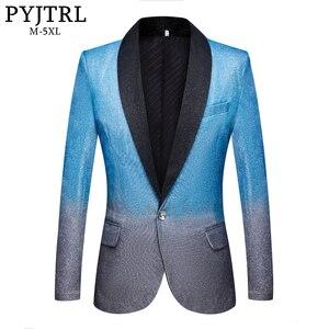 Image 1 - PYJTRL nowy mężczyzna Artistry gradient błyszczące niebo niebieski Blazer klub nocny etap piosenkarka sukienka na studniówkę garnitur kurtka ślub kostium